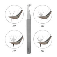 AS09 tweezers for volume eyelash extension 3D 5D 6D stainless steel tweezers