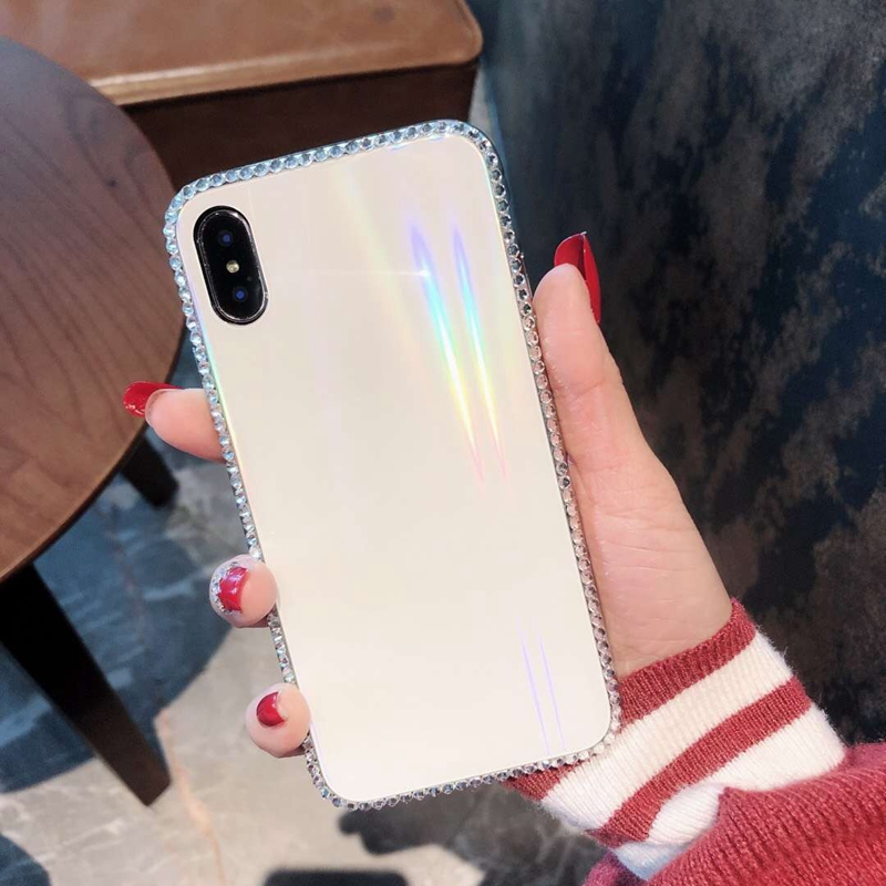 Colorful Laser Aurora Case For iPhone X 8 7 Plus 6 6s Plus Diamond Bling Tempered Glass Hard Back Cover For iPhone X XR XS Max in Fitted Cases from Cellphones Telecommunications