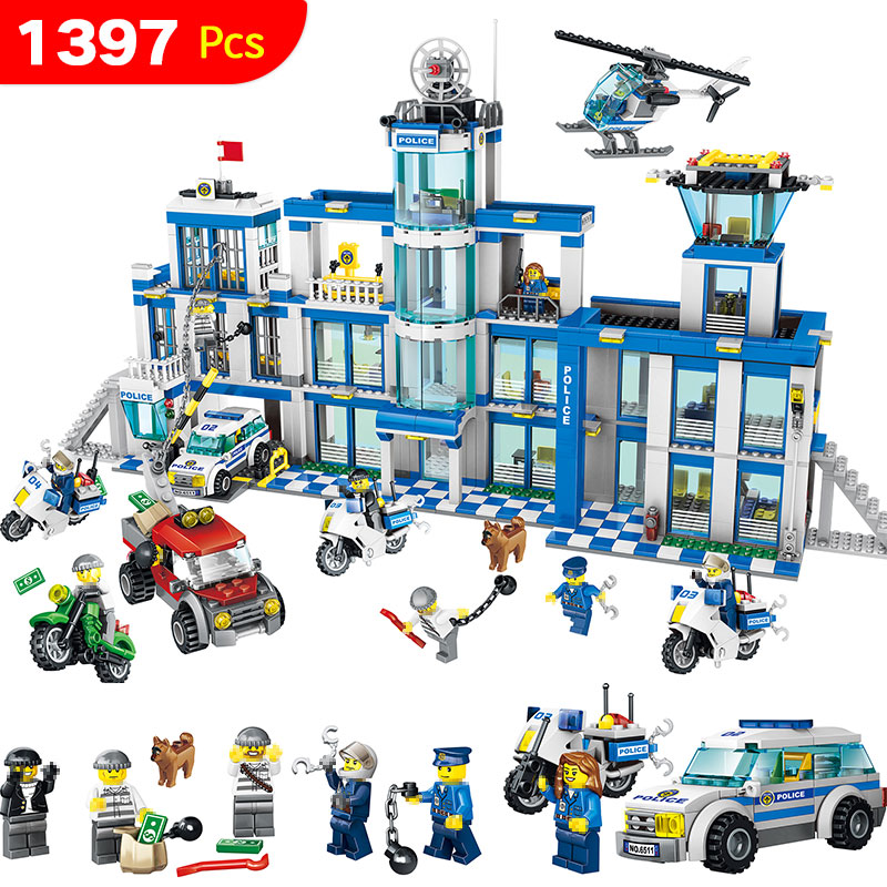 Anti-Terrorism Action Model Building Blocks City Police Station Series Set Compatible LegoINGLYS Child Toy 1397 Pcs 1397pcs large building blocks sets city police station anti terrorism action compatible legoingly city police toys for children