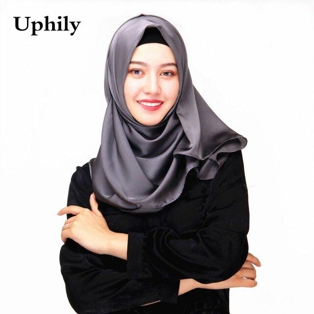 Uphily de seda hijab Bonnet bufanda chal hijabs musulmanes bufanda islámica bufandas Bandana abaya hijab Bonnet para las mujeres