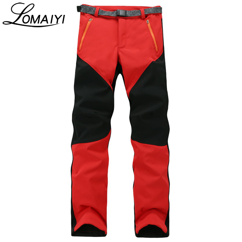LOMAIYI New 2017 Winter Men Women Pants Windproof Snow Wear Trousers With Fleece Lining Womens 3XL Plus Size Black Pants,AW085