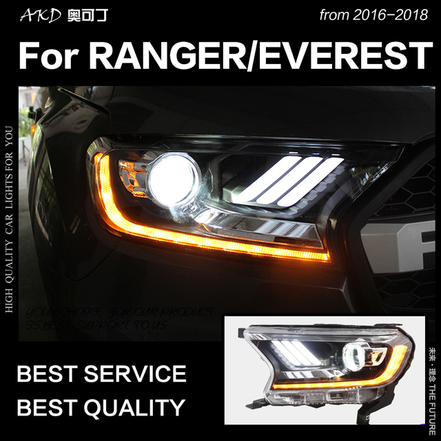 AKD Car Styling for Ford Everest Ranger Headlights 2016-2018 Dynamic Turn Signal LED Headlight DRL Hid Bi Xenon Auto Accessories 1