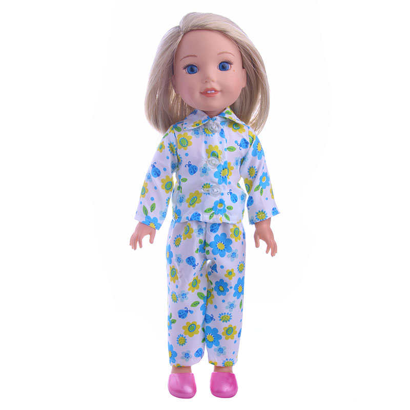 Fashionable cute pajamas fit for 14.5inch American girl doll WellieWishers,Children the best Christmas gift