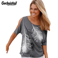 Geckoistail Summer Cotton T Shirt Women Fashion Tshirt Feather Printed T Shirt Loose Casual Short Sleeve