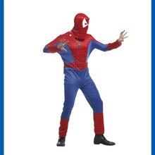 Костюм Человека-паука 3D Удивительный Человек-паук Маска костюм спандекс синий и красный цвета Хэллоуин для взрослых Для мужчин Косплэй