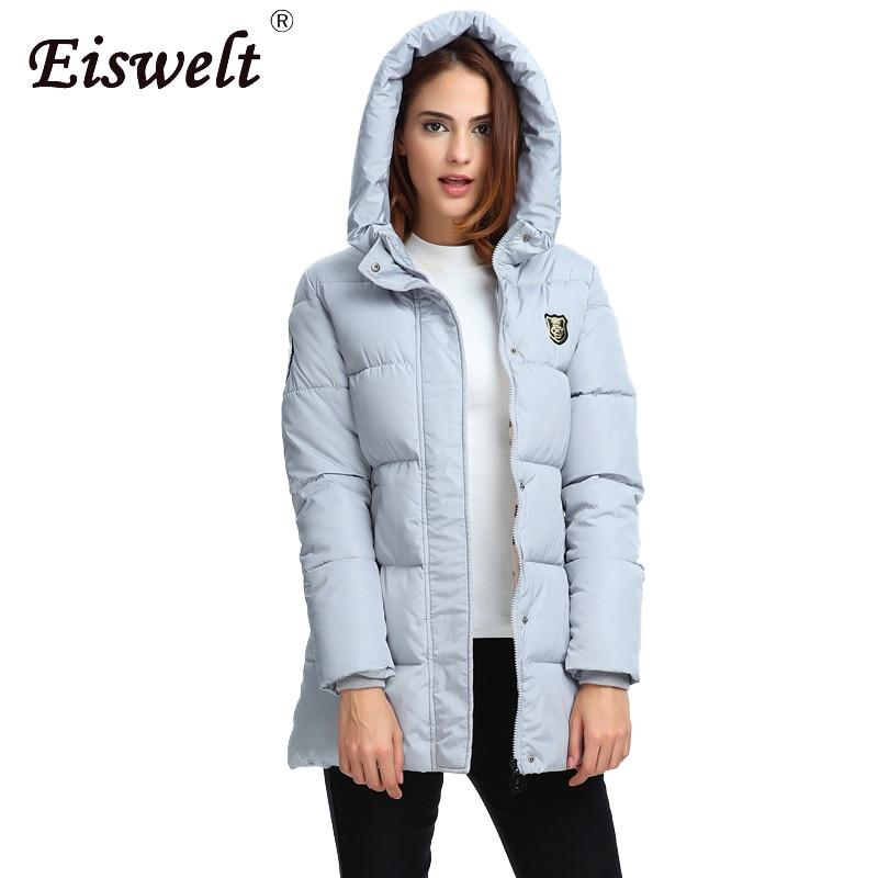 EISWELT 2018 New Fashion Long Winter Jacket Women Slim Female Coat Women Thicken   Parka   Cotton Clothing Clothing Hooded Student