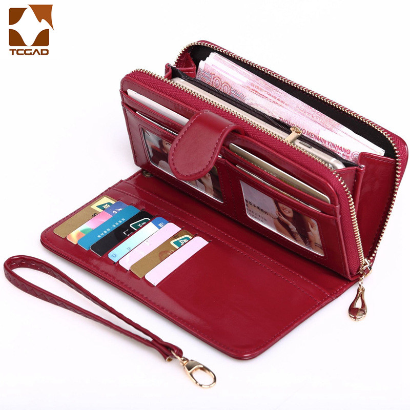 Woman Long wallet Solid Color Women Simple Style Zipper&Hasp Purse Clutch Card Holder Pu Leather Ladies Wax oil skin Wallet 2019