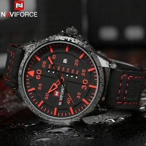 Image 4 - NAVIFORCE Fashion Sports Men Quartz Watches Leather Strap Luxury Brand Watches Man Red Dials 30M Waterproof Relogio Masculino
