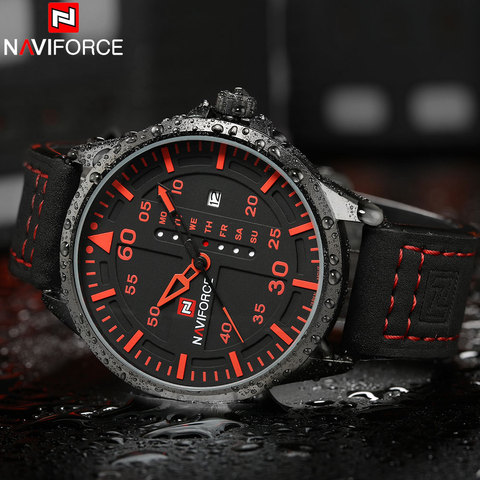 NAVIFORCE Fashion Sports Men Quartz Watches Leather Strap Luxury Brand Watches Man Red Dials 30M Waterproof Relogio Masculino Islamabad