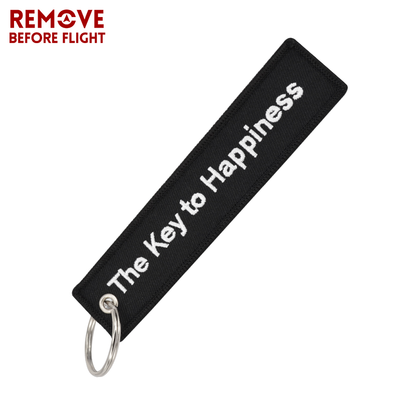 100PCS Remove Before Flight Fashion Chaveiro The Key to Happiness Bijoux Luggage Tag Embroidery Bag Charm Motorcycles Key Ring