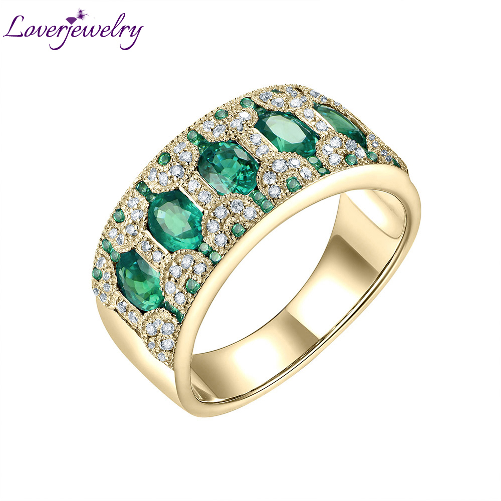 Rings For Women 18K Yellow Gold Natural 1 5Ct Emerald Ruby Sapphire Genuine Diamonds Party Anniversary