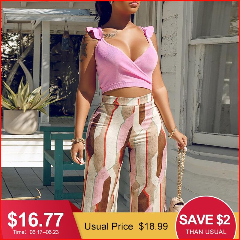 Glamaker Two-piece suit summer   jumpsuit   Cami wide leg sexy   jumpsuit   female Sexy playsuit women   jumpsuit   romper macacao feminino