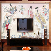 Beibehang Custom Papel De Parede Large Chinese Seven Fairy Ancient Lady Hotel Restaurant Tooling Wall Wallpaper