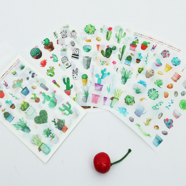 6pcs/Set Cute Green Cactus Plant Planner Stickers Scrapbooking Kawaii DIY Decoration Stick Label Sticker Bullet Journal Stickers