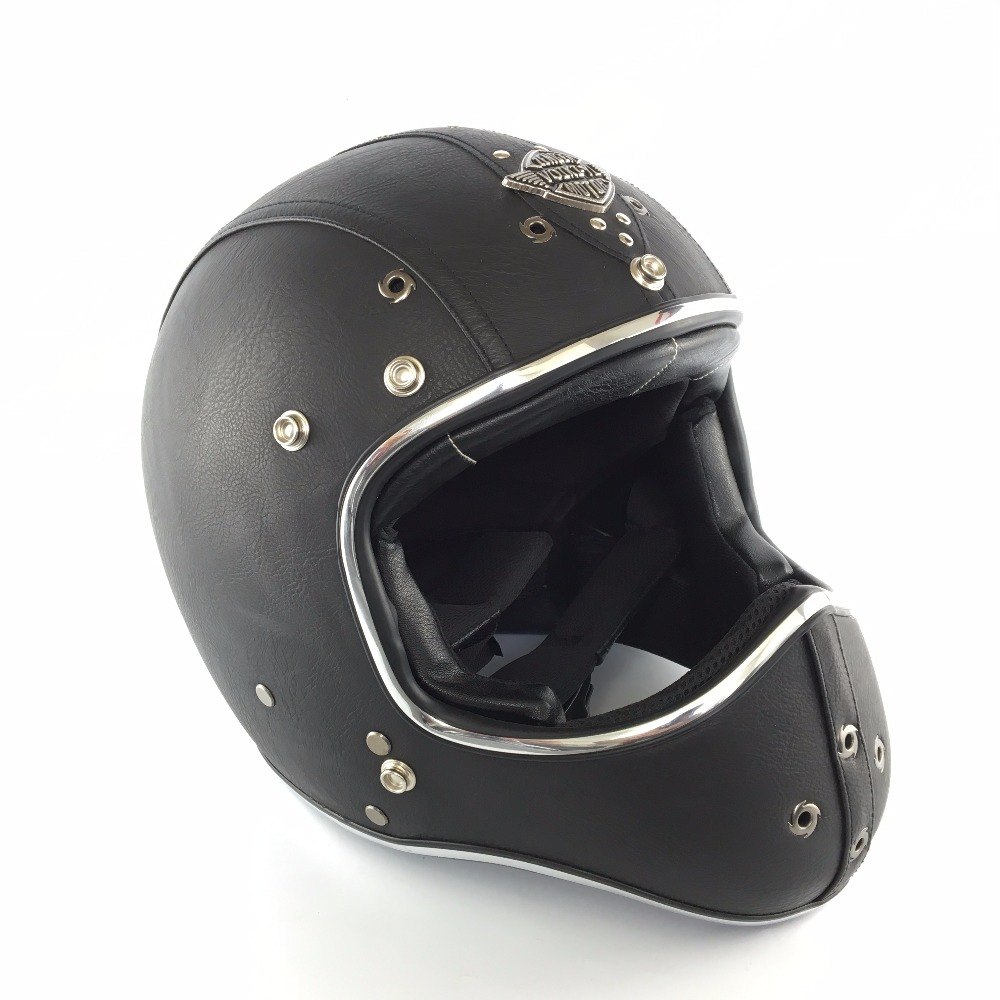 цена Leather Moto Helmet Motocross 2018 Vintage Helmets Motorcycle Racing Motocross Half Face Motorcycle Helmet casque moto