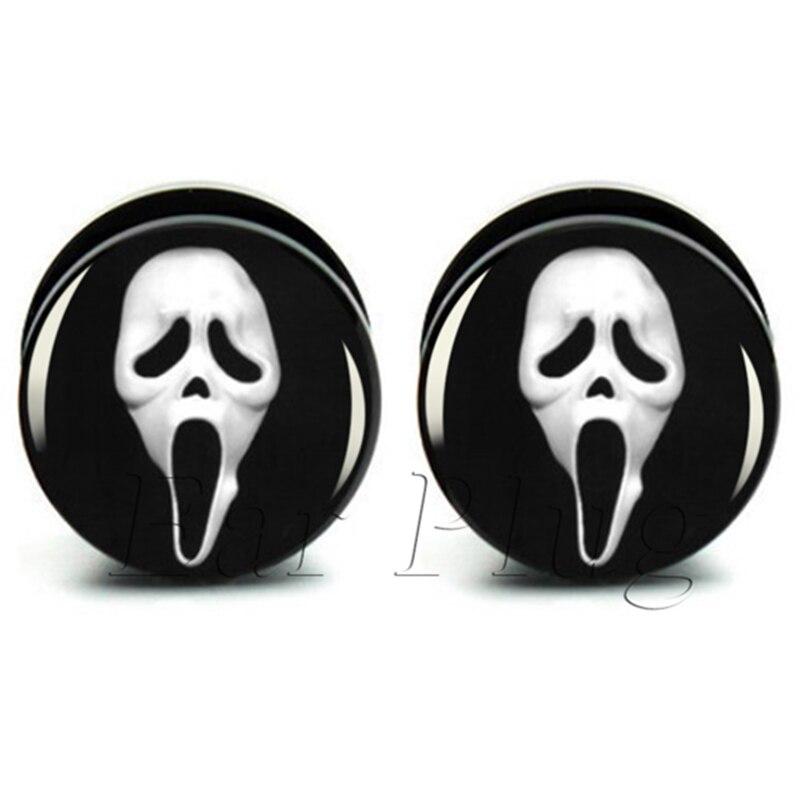 Body piercing SCREAM Skull Acrylic ear expander flesh tunnel ear plug gauges screw on sizes 6mm-25mm A0055