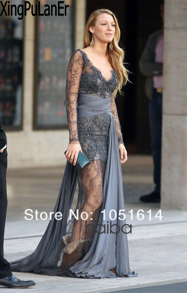 Aliexpress.com   Buy Blake Lively Gossip Girl Grey Lace See Through  Transparent Floor Length Real Sample Celebrity Dresses Lace Evening Gowns  from Reliable ... 2d53129ac0e0