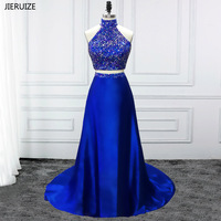 JIERUIZE Royal Blue 2 Piece Prom Dresses High Neck A line Crystals Luxury Party Dresses Long vestidos de baile