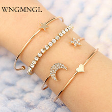 WNGMNGL 4pcs/Set Classic Moon Star Heart Crystal Multilayer Adjustable Open Bracelet Set For Women Fashion Party Jewelry Gift