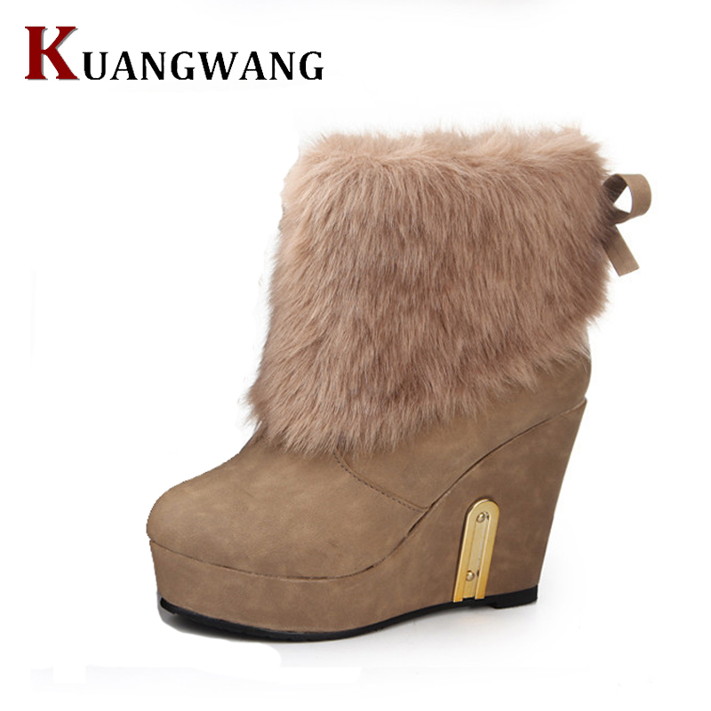 fashion cow split leather big fox fur girls winter short ankle snow boots for women winter flats shoes black high quality