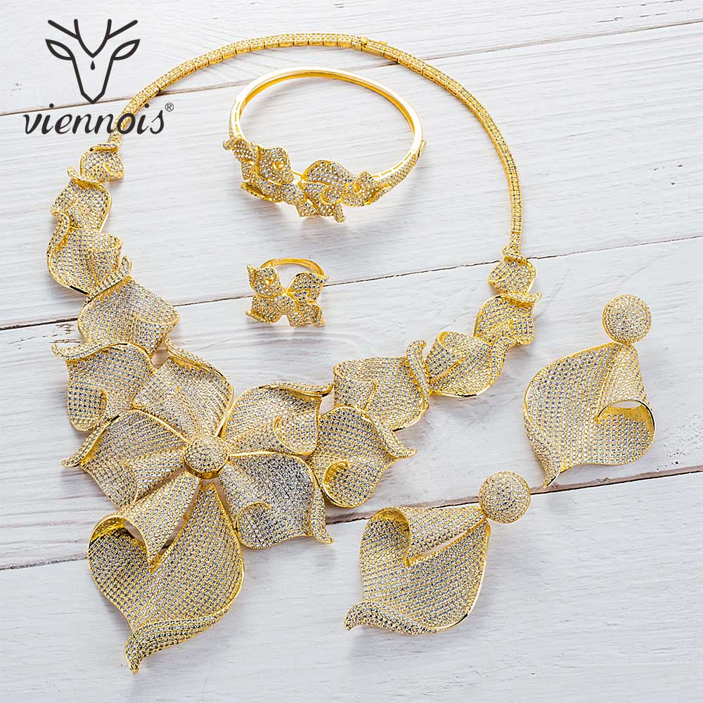 Viennois Gold Silver Mixed Color Necklace Set For Women Dangle Earrings Ring Bracelet Set Party Plant