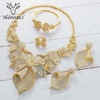 Viennois Gold / Silver / Mixed Color Necklace Set For Women Dangle Earrings Ring Bracelet Set Party Plant Jewelry Set 2019 - DISCOUNT ITEM  30% OFF All Category