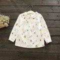 A2230 Retail 2017 Muchachas del Resorte Blusas de Impresión Fox Tree House Chica de Moda de La Manga Completa Top Camisetas de Los Niños Ropa de La Muchacha Lolita