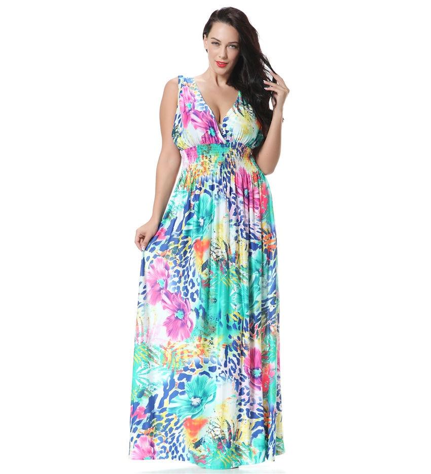 Women Summer Long Maxi Dress V Neck Off Shoulder Sexy Backless Printed Big Size 7XL Boho Dress