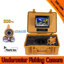 Underwater Fishing Camera Kit with 20Meters Depth Dual Lead Bar & 7Inch Color TFT LCD Monitor & Yellow Hard Plastics Case