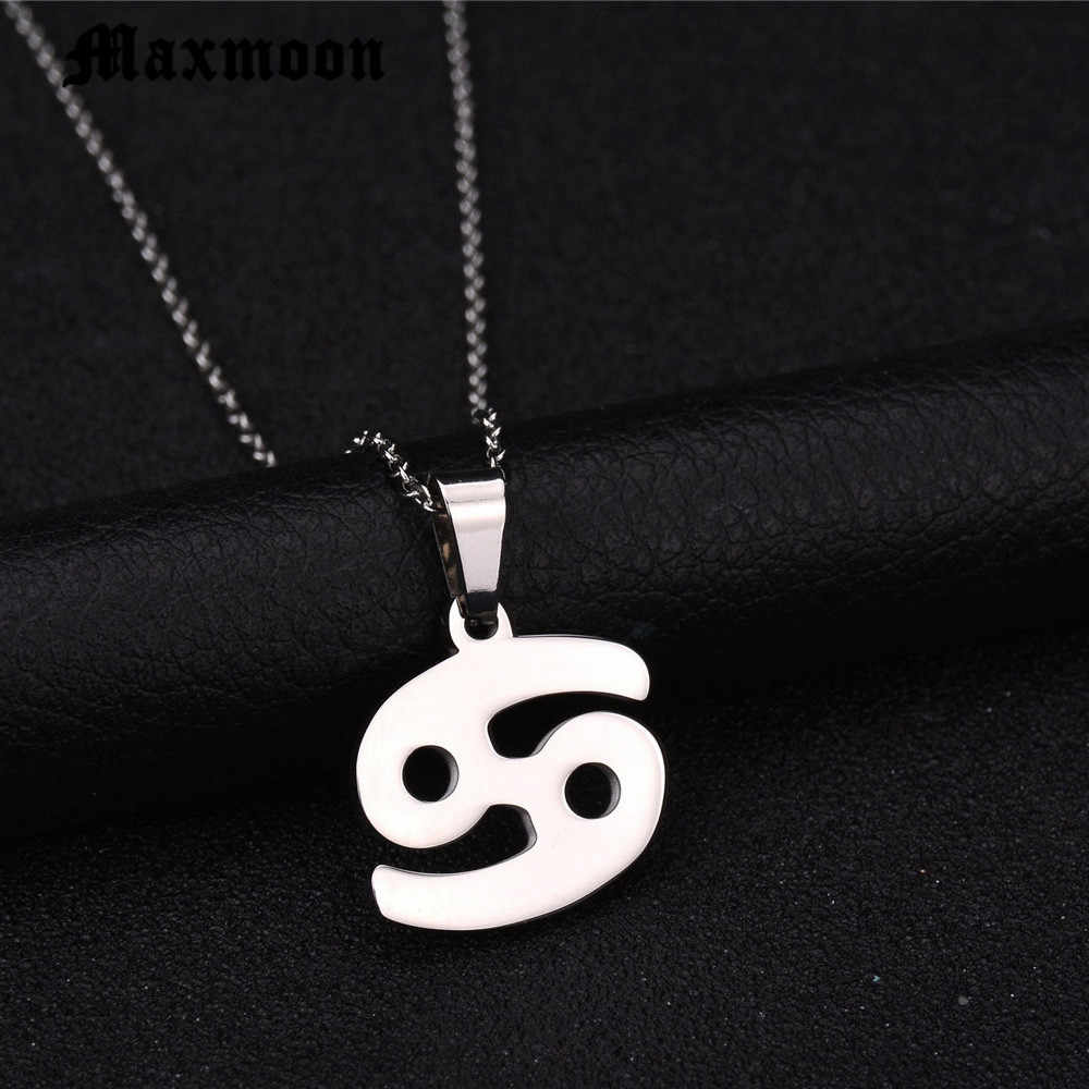 Maxmoon Zodiac Signs Necklace For Men Women Best Friend Birthday Gift Gold Color Stainless Steel Cancer Constellations