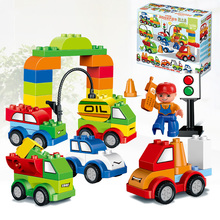 Assembled Toys Car Model Kit Children Educational Plastic Large Particles Building Blocks Spell Inserted Toy Baby Kids Gift E19 gudi police to track suspect the culprits educational blocks fight inserted building blocks assembled toys