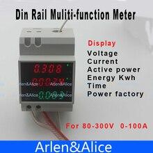 Carril Din pantalla LED AC 80-300 V voltímetro amperímetro 0-100.0A tiempo metro de la Energía de potencia y factor de potencia activa voltaje de corriente