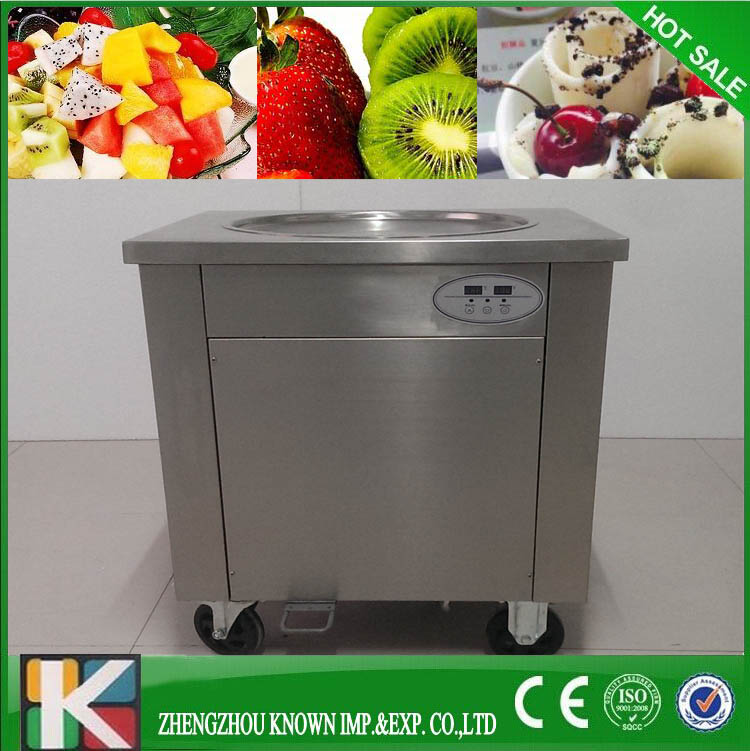 1 Pan Ice Cream Fryer Roller Machine Computer Control Pan Yoghourt Ice Cream Roller Rolling Rolled Flat Fried Ice Cream Machine