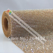 Высокое качество 3 мм исправление кристалл горного хрусталя сетки с отделкой ясно камень в золотистой металлической База для свадебное платье Узде аксессуары