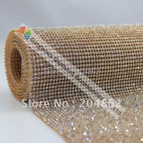 High Quality 3mm Hot fix crystal Rhinestone mesh trim with clear stone in Gold Metal Base For Wedding Dress Browband accessories