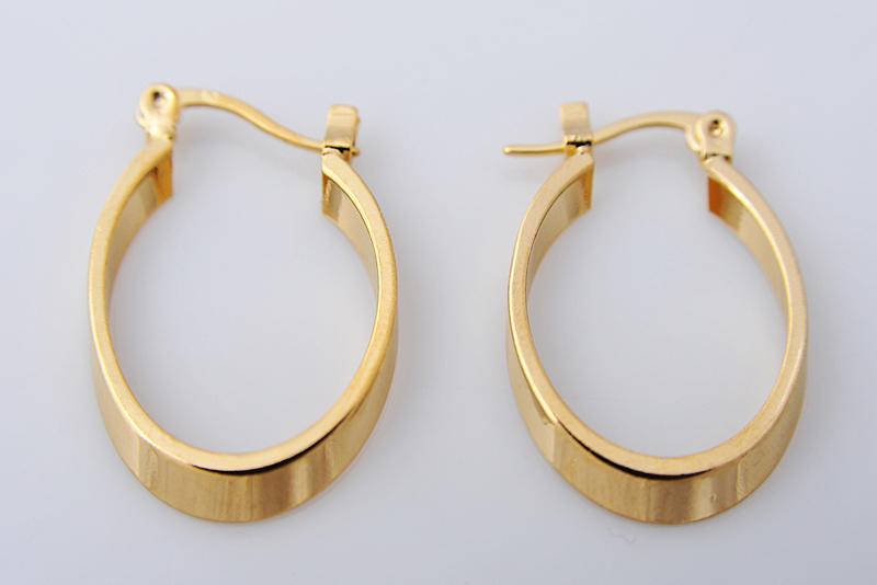 Fashion Earring 38mm 18k Yellow White Solid Gold Filled