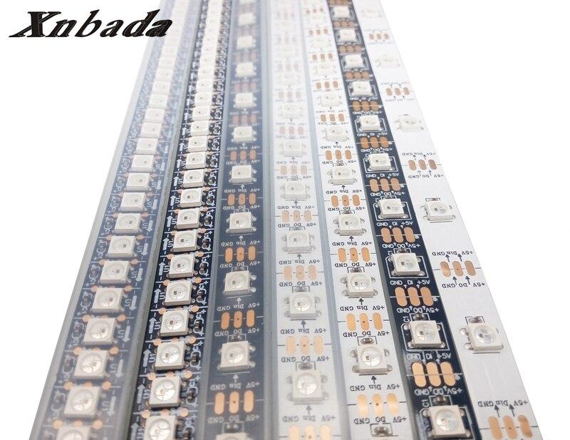1m/4m/5m ws2812b ws2812 rgb led strip ,ws2812 individually addressable ic,black/white pcb waterproof ip30/ip65/ip67 dc 5v