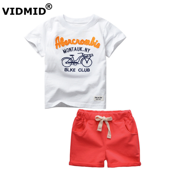 VIDMID baby boys newest short sleeve suits boys sport summer cotton t shirts and pants children