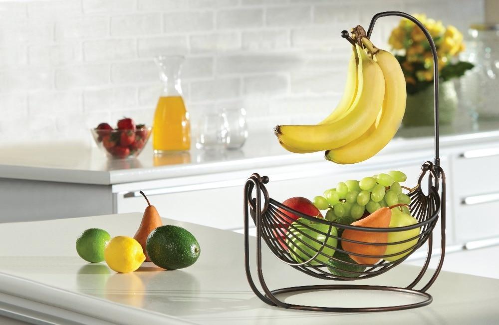Free shipping fruit basket with banana hanger antiqued black finish ...