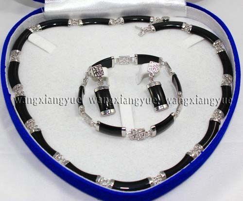 Vente chaude Noble-vente chaude nouvelle-gratuite Naturel Noir Agate Lien Collier Bracelet boucles d'oreilles Set (A0425)