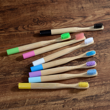 10PC Kids Bamboo Toothbrush Soft Bristles Eco Biodegradable Plastic-Free Oral Care Toothbrush 8 Colors Child Bamboo Toothbrush 1