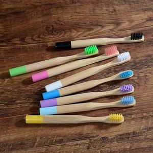 Image 2 - Brosse à dents en bambou pour enfants, à poils souples, écologique, biodégradables, soins buccaux, sans plastique, 8 couleurs, 10 pièces