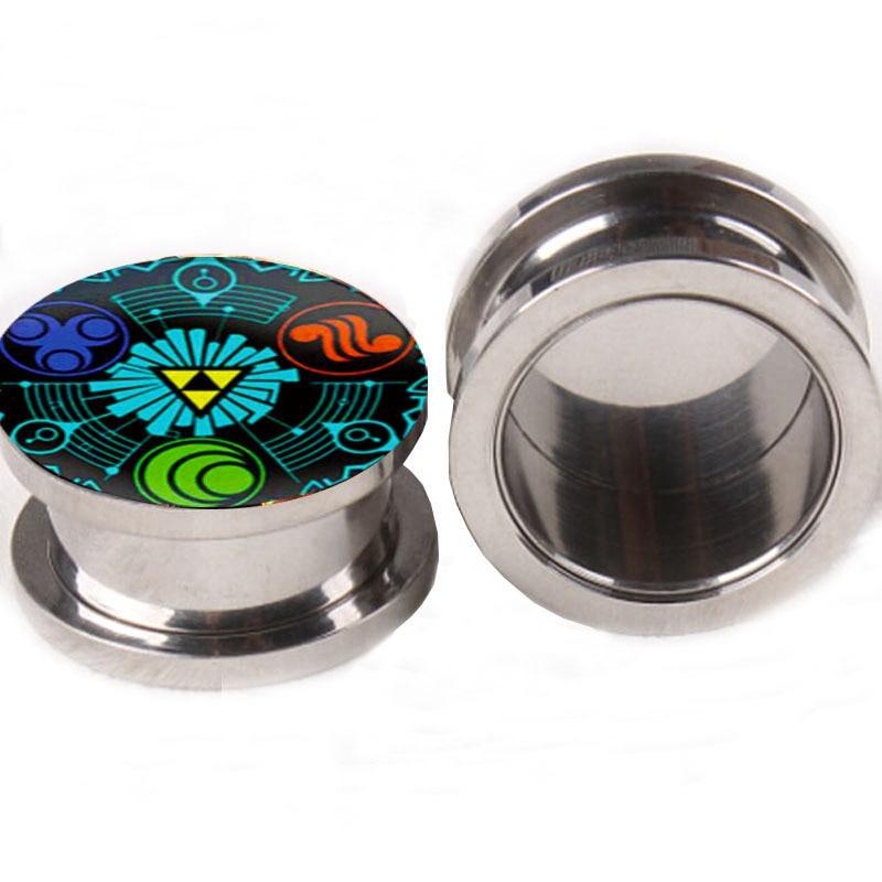Legend Of Zelda Logo Ear Gauge Plugs And Tunnels 5 16mm Flesh Tunnel Piercing Expander Fake Plug Earrings In Body Jewelry From