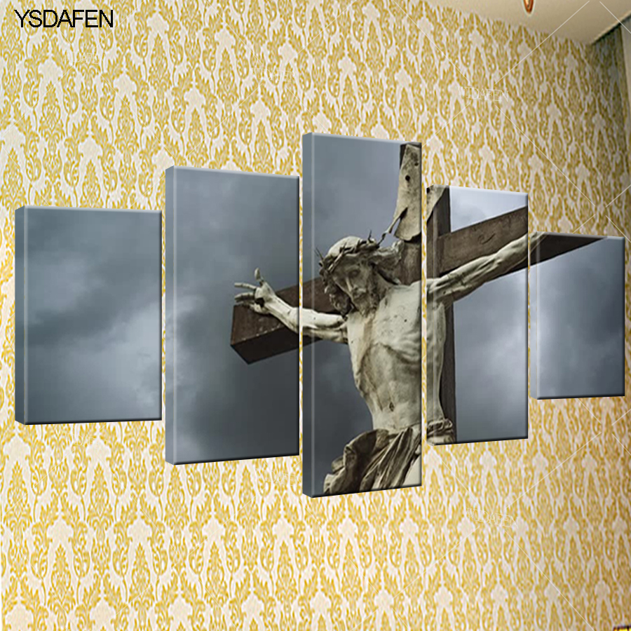 5 piece canvas art Christian cross painting HD Canvas Painting Wall ...