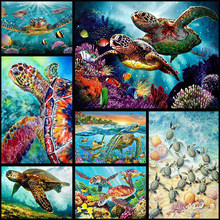 "Full Drill 5D DIY Diamond Painting ""Turtle family""Embroidery Cross Stitch Mosaic Home Decor(China)"