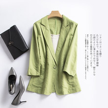 NEW Summer Women Blazers cotton linen suit leisure seven sleeve thin linen small suit jacket female S M L XL Work Wear(China)