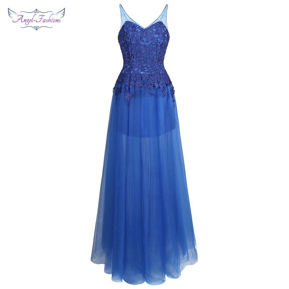Angel-fashions Illusion   Prom     Dresses   Sheer V neck Lace See Through Backless Ball Gown Blue W-180201