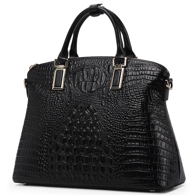 Genuine Leather Top-Handle Bags for Women Full Grain Cowhide Embossed Crocodile Purse and Handbags