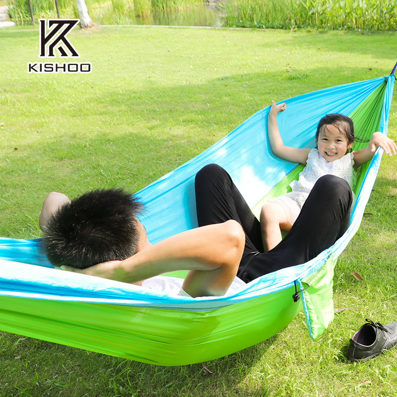 Assorted Color Hanging Sleeping Bed  Outdoor Camping Hammocks Parachute Nylon Fabric Swing Bed Double Person Portable Hammock thicken canvas single camping hammock outdoors durable breathable 280x80cm hammocks like parachute for traveling bushwalking