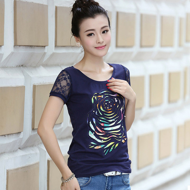 7934a3a7 High quality summer new rose embroidery Lace women's tee shirts short  sleeve crewneck fashion ladies designer